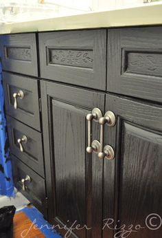 Oak cabinet makeovers on pinterest - Painting bathroom cabinets black ...