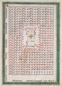 Beatus of Liébana (Austria), Table to calculate the numerical code of the Antichrist.  8th century C.E   http://36.media.tumblr.com/4a9854ad86f99de1b7c234735c74cf76/tumblr_o0el4nZD9i1rww08io1_1280.jpg