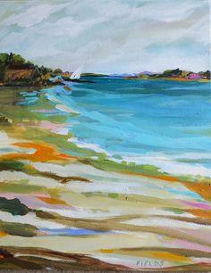 Coastal Original Landscape Painting Bohemian Sailboat Beach California Colorful Abstract Folk Modern by Karen Fields Abstract Landscape, Landscape Paintings, Abstract Art, Seascape Paintings, Art And Illustration, Original Paintings, Original Art, Indie, Beach Art