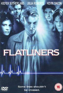 Flatliners, 1990. A group of medical students try to find out if there's life beyond death...with frightening consequences. I saw this film in the theaters and loved it, and I still do. Joel Schumacher isn't the best director around, but I did enjoy his films from the 80s and 90s. And with this great 20-something cast with wonderful talent, you just can't go wrong!