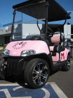 """Golf Cart fashion is actualized with this Juicy Couture cart. And this cart was also """"Made in the Glamorous USA."""""""