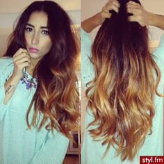 Burgundy to Caramel ombre LOVE <3