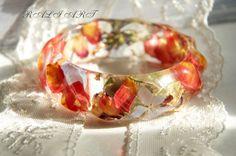 Resin real flower Resin bangle Bracelet hydrangea by RALIJEWELLERY