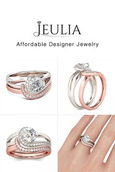Check this out from jeulia! Jeulia Two Tone Split Shank Round Cut Sterling Silver Ring Set Stone Wrapping, Ring Set, Wedding Rings, Wedding Sets, White Sapphire, Anniversary Rings, Artisan Jewelry, Silver Rings, Jewelry Design