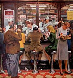 1946 Lunch Counter Diners by John Falter - Original Saturday Evening Post Cover - Retro Pub Art Posters Vintage, Vintage Art, Vintage Paintings, Retro Art, Art Posters, Vintage Prints, Painting Prints, Canvas Prints, Illustrations Vintage