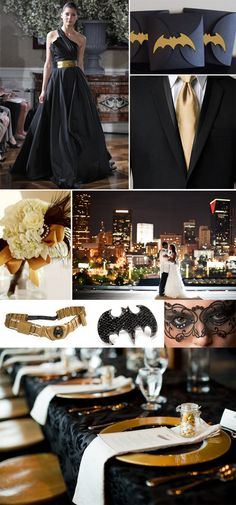 Elegant Black   Gold Batman Wedding