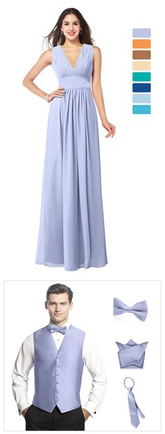 most hot bridesmaid dress in all popular colors and corresponding groomsmen accessories