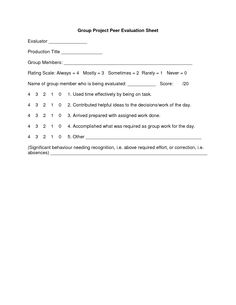 group project peer evaluation Peer evaluation form  number of points for the group project based on the particular grade that is assigned and the individual  continue the evaluation on the .