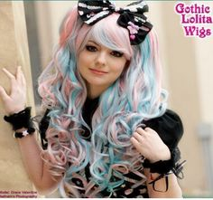 65CM Lolita blue pink long clip-on wave cosplay wig CB20