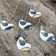 Sgraffito decorated pottery handmade by Kate Russell in Wales. Folk art and gifts. Clay Birds, Ceramic Birds, Glazes For Pottery, Ceramic Pottery, Christmas Clay, Homemade Christmas, Christmas Ornaments, Merry Christmas, Ceramic Christmas Decorations