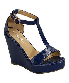 Look what I found on #zulily! Roayal Blue Eva T-Strap Wedge Sandal #zulilyfinds