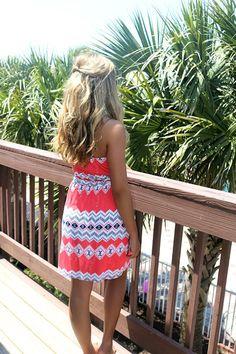 Miami Aztec Print Coral Tube Dress