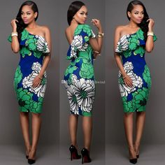 One Shoulder Print Bodycon Mid-Calf Party Dress Party Wear Dresses, Sexy Dresses, Party Dress, Prom Outfits, Prom Dresses, Trendy Ankara Styles, Nigerian Dress, American Dress, Woman Fashion