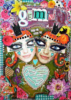 Gemini art. Gemini zodiac Gemini gift June by ThisRosyLife on Etsy
