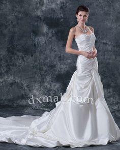 Drop Waist Wedding Dresses Sweetheart Cathedral Train Satin Ivory 01001070031