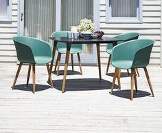 Bord UBJERG 107cm+4 stole VARMING grøn