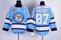 Men's Pittsburgh Penguins #87 Sidney Crosby Light Blue 2017 Stanley Cup NHL Finals C Patch Jersey