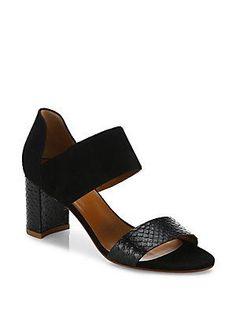 Aquatalia Suzanne Suede & Snake-Embossed Leather Block-Heel Sandal
