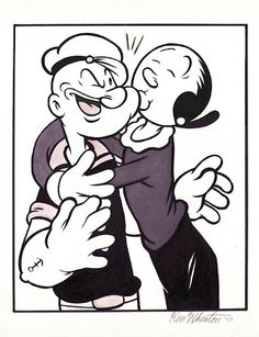 Popeye and Olive Famous Cartoons, Old Cartoons, Animated Cartoons, Classic Cartoon Characters, Classic Cartoons, Vintage Cartoon, Cartoon Art, Personnages Looney Tunes, Popeye Olive Oyl