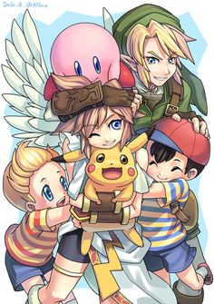 Link, Lucas, Ness, Kirby, Pikachu and Pit.