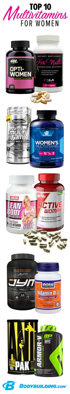Top 10 Multivitamins for Women! Between your restricted diet, depleting workouts, and busy life, it's not easy to get all the nutrients you need. These multis are just for women, packed with essentials for healthy energy levels, immune system, bones, skin, hormones, and more. Bodybuilding.com