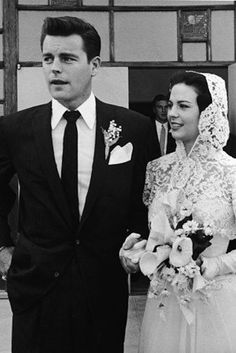 Robert Wagner and Natalie Wood, on their wedding day 1957