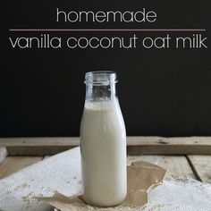 This homemade vanilla coconut oat milk is a delicious and quick dairy free, nut free and gluten free alternative to regular milk. Milk Recipes, Raw Food Recipes, Plant Based Recipes, Healthy Recipes, Vegan Food, Flour Recipes, Smoothies, Smoothie Drinks, Smoothie Recipes