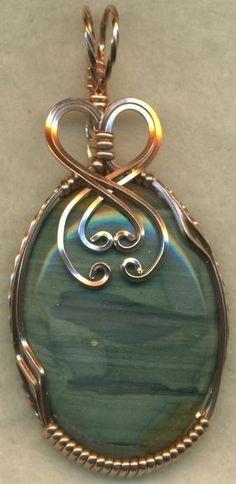 Blue Picture Jasper Copper Wire Wrap Pendant