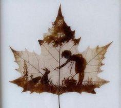 Silhouette of a girl & rabbit design on a leaf art Tatto Mini, Montage Photo, Leaf Art, Faeries, Oeuvre D'art, Autumn Leaves, Art Photography, Illustration Art, Artsy