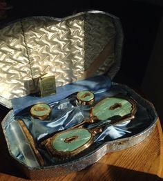 Vintage Dresser Set  Pearltone Boxed Vanity Set  by SimplyAgain