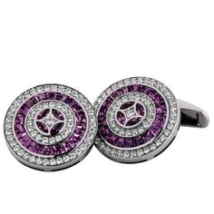 Cuff links by VICTOR MAYER: 18kt white gold, 116 diamonds total 1.10ct weight, 44 pink sapphire total 3.75ct weight. Limitation: 50 pieces. [V1232-00-1D-00-101]