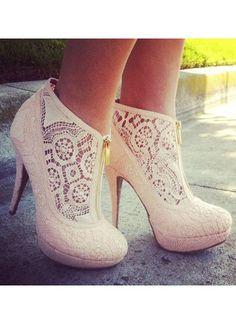 .So Cute... Cream Lace High Heel http://www.pinterest.com/zeugma/boards/