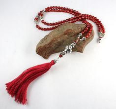 Fire Red Mala, Tassel Necklace, Red Agate Mala, Mala Necklace, Meditation Beads…