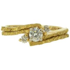 Alaskan Gold Nugget Diamond Engagement Wedding Ring Set in Yellow Gold. Style#: GRST10266 - Gold Nugget Jewelry by Alaskan Gold Rush Fine Jewelry - Fairbanks, Alaska - 907-456-4991 - Call for price and availability.