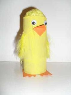 Easter chick made with toilet paper roll, feathers, and orange paper. Cute idea.