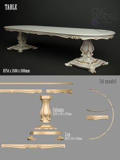 A1154  TABLE  3D model for cnc router...cnc-model.com Dining Room Furniture Design, Royal Furniture, Victorian Furniture, Modular Furniture, Luxury Furniture, Antique Furniture, Diy Furniture, 3d Cnc, Cnc Woodworking