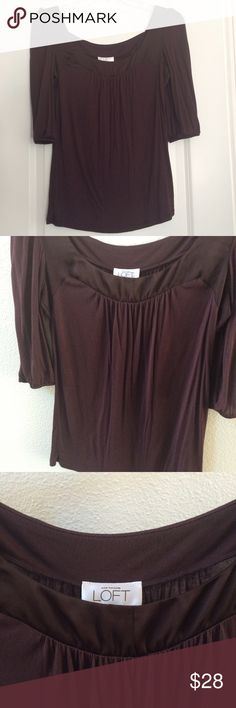 ✨ Like New LOFT wine eggplant color top Gorgeous color for fall!  Worn once / like new / 100% modal / hand wash LOFT Tops Blouses