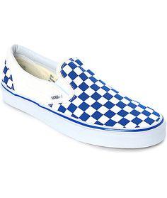 35cb2d90a5f0 Vans Slip-On Blue   White Checkered Skate Shoes