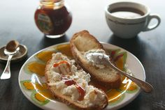Pantelleria, Sicily (Italy): a toast with ricotta and honey