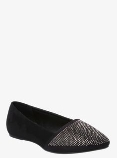 Slip into sexy wearing these fabulous faux suede flats. The dazzling black slip-on shoe is accented by a sparkling toe that is decorated with tons of tiny, shiny studs.