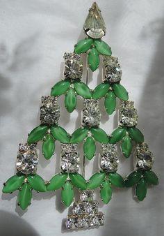 RON Signed Jade Green Glass & Rhinestone Christmas Tree Pin