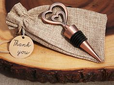 Copper Vintage Two Hearts Become One Bottle Stopper