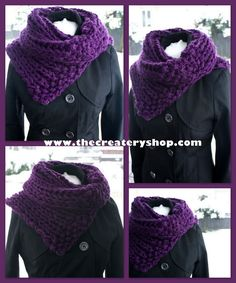 The Createry Shop: Free Easy Chunky Collar Cowl Knitting Pattern - Free Knit Pattern Knit Or Crochet, Crochet Scarves, Crochet Shawl, Crochet Clothes, Chunky Crochet, Crochet Granny, Loom Knitting, Knitting Patterns Free, Free Knitting