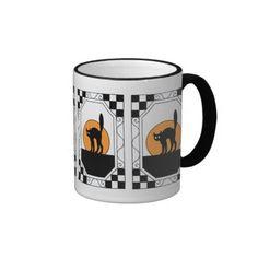 Vintage Halloween cute black cat and moon mosaic Mugs