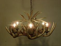 Whitetail Deer Antler Chandelier (6 - 40 watt candelabra lights with 50 watt halogen down light) on Etsy, $1,024.26 AUD