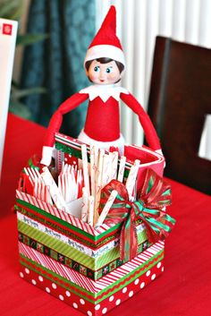 Love this table decor at a Elf on the Shelf party!  See more party ideas at CatchMyParty.com!  #partyideas #winter