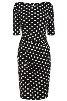 Buy Black And White Spot ¾ Sleeve Crepe Dress from the Next UK online shop
