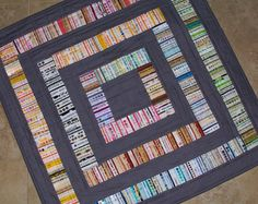 MODERN GREY Selvage Quilt Ready to Ship from Quilts by Elena Recycled and Reinvented Add a POP of color to your home Free Shipping. $120.00, via Etsy.