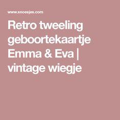 Retro tweeling geboortekaartje Emma & Eva | vintage wiegje