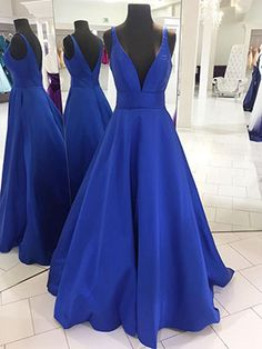 Prom Dress Princess, Simply V Neck Royal Blue Long Prom Dress Shop ball gown prom dresses and gowns and become a princess on prom night. prom ball gowns in every size, from juniors to plus size. Blue Evening Dresses, V Neck Prom Dresses, Prom Dresses 2018, Ball Gowns Prom, Plus Size Prom Dresses, Bridesmaid Dresses, Formal Dresses, Long Dresses, Dress Long